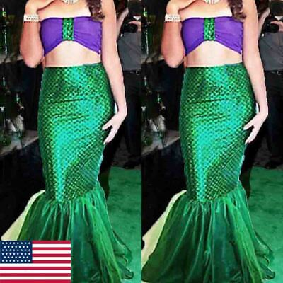 Women Sequined Mermaid Top+ Tail Skirt Party Photography Costume Dress Cosplay