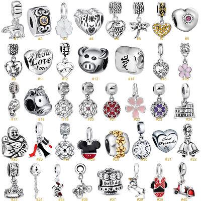 European Silver Charms Love Heart Pendant Beads Fit 925 Sterling Bracelet Chain