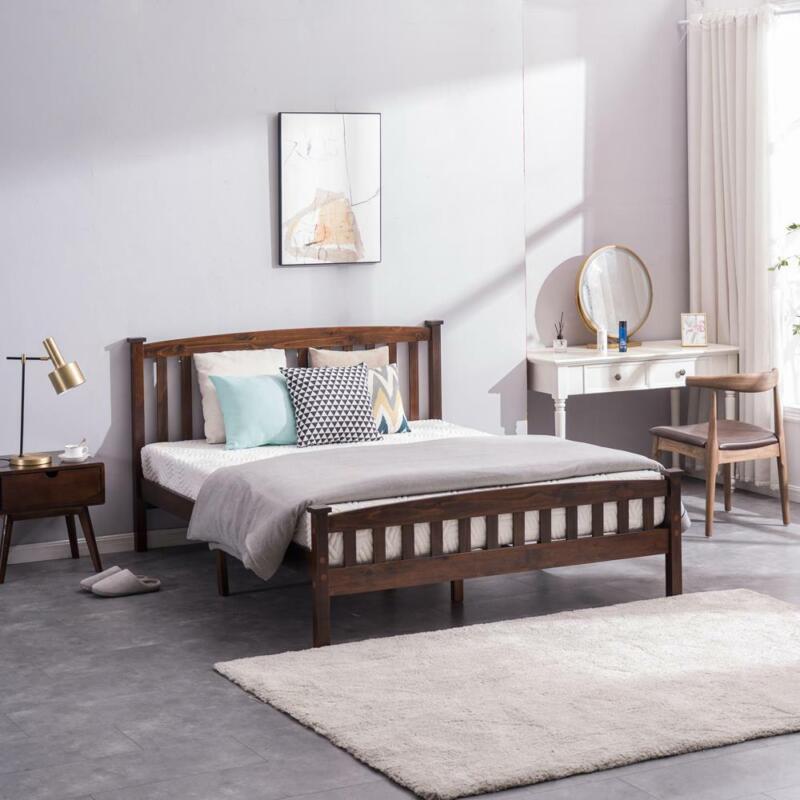 Full Size Wooden Platform Bed Frame Foundation w/Headboard Wood Slats Walnut