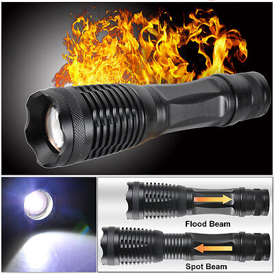 5000LM CREE T6 LED Zoomable Flashlight Waterproof Torch Light Lamp 18650 AAA