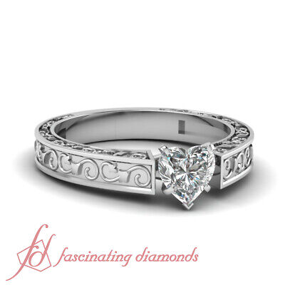 Solitaire Milgrain Engraved Engagement Ring 0.55 Ct Heart Shaped SI1 Diamond GIA