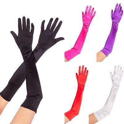 Hot Pink Gloves (Opera Length Satin Stretch Halloween Gloves Black Hot Pink Purple Red or White )