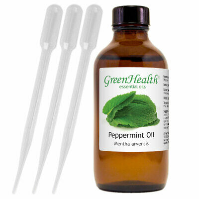 Peppermint Essential Oil 4 oz Pure Natural with 3 Free Dropp