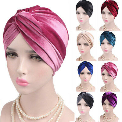 Velvet Turban - Women Indian Turban Hat Head Wrap Stretchable Chemo Pleated Hijab Cap Fashion
