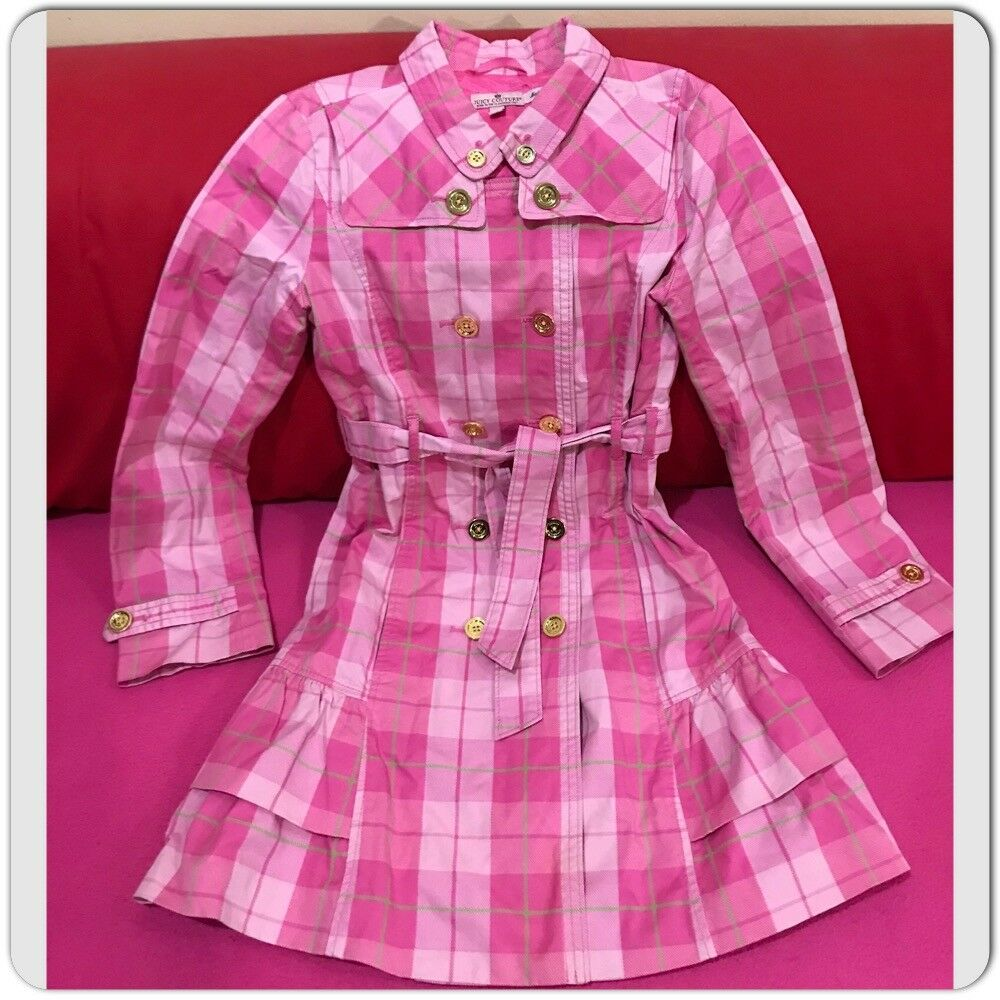 Juicy Couture Pink Plaid Ruffle Trench Coat Size 1