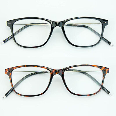 Mens Womens Way-farer Retro Reading Glasses Black Full Frame Readers Cheaters Rx ()