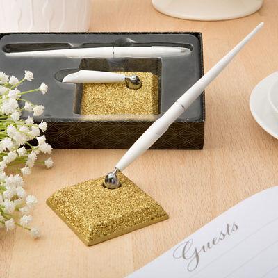 - Gold Glitter Pen and Holder Set Wedding Gift Reception Write Signature Sign