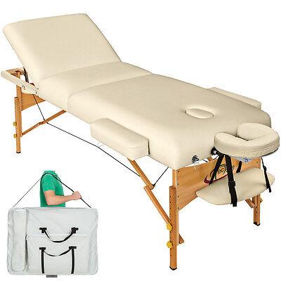 Massagetisch Massageliege Massagebank 10cm reine Polsterung +Tasche beige