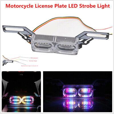12V Motorcycle Bike License Plate Frame LED Strobe Light Tail Brake Running Lamp
