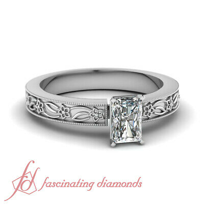 1/2 Carat Radiant Cut Solitaire Victorian Diamond Rings For Women GIA Certified