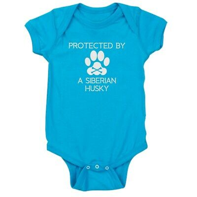 CafePress Protected By A Siberian Husky Baby Bodysuit