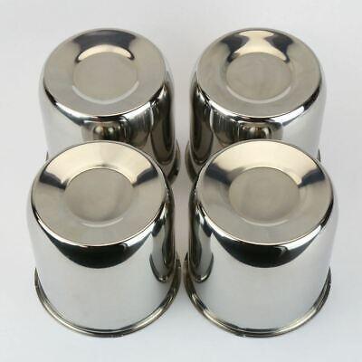 """4 Chrome Steel Center Caps Push Thru For Trailer wheel rims 4.25"""" Center Bore"""