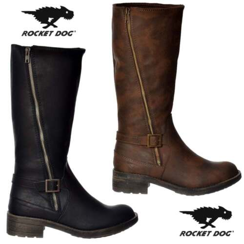 Womens Girls Rocket Dog Bester Buckled Biker Combat Ankle Boot Black Size