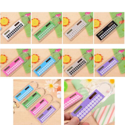 Mini Solar Calculator Fashion Multifunction 10cm Ruler School Office Student 1pc