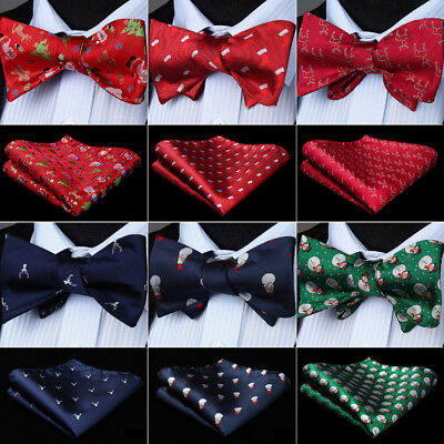 Men's Self Bow Tie Christmas Novelty 100% Silk Woven Bow Tie Handkerchief Set](Christmas Bow Tie)