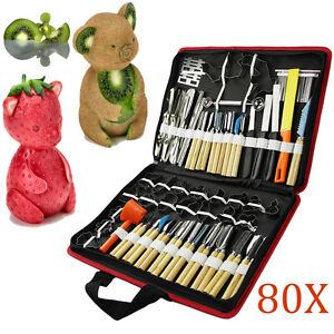 Set of 80 Portable Vegetable Food Fruit Wood Box Kitchen Carving Tool Kit + Bag