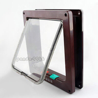 Brown 4 Way Locking Lockable Pet Cat Dog Magnetic Lock Flap Door Gate S M L - Cat Flap Pet Door