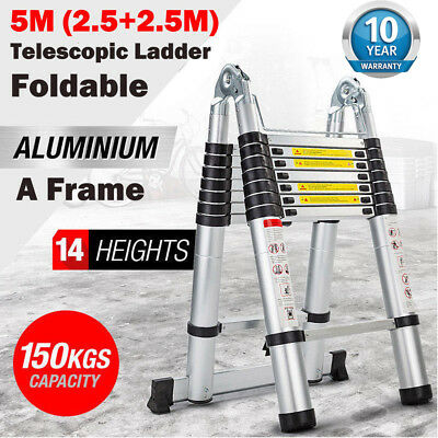 16.5ft Aluminum Multi Purpose Telescopic Ladder Extension Foldable Steps 331lbs