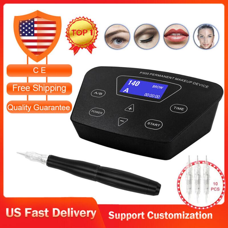 Permanent Makeup Eyebrow Lip Eyeliner Tattoo Machine Rotary Pen Microblading Kit
