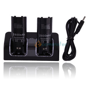 For-Wii-Remote-Dual-Charger-Lot-2-Rechargeable-Battery-Black