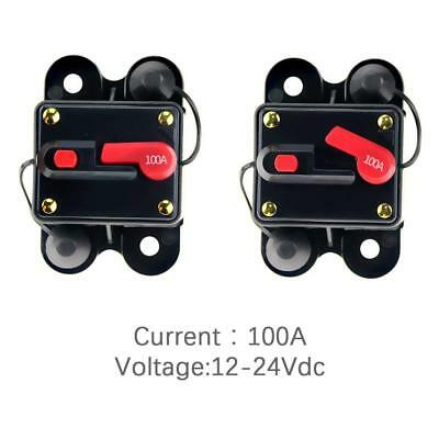 12v-24v Dc Circuit Breaker Inline Fuse Inverter Waterproof Manual Reset 100 Amp