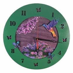Hummingbird and Butterflies Wall Clock | 13in Diameter | Handmade from wood