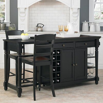 Home Styles Large Torino 3 piece Kitchen Island & Stools Set, Black/Rustic