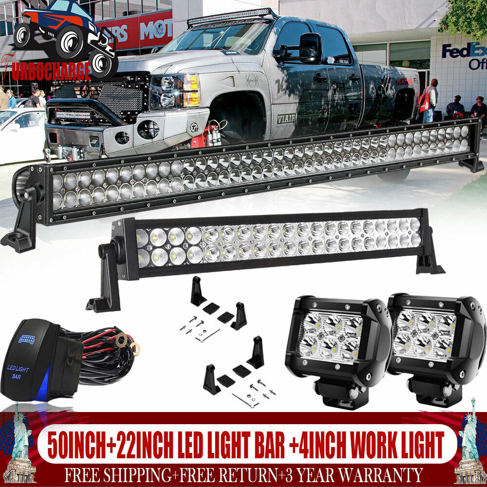 """22inch LED Work Light Bar 4/"""" Led Pods For SUV UTE Truck  Ford Offroad"""