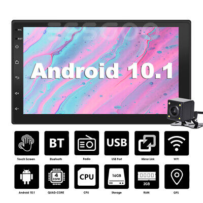 """7"""" Android 10 Car Stereo GPS Navigation Radio Player Double Din WIFI USB Camera"""