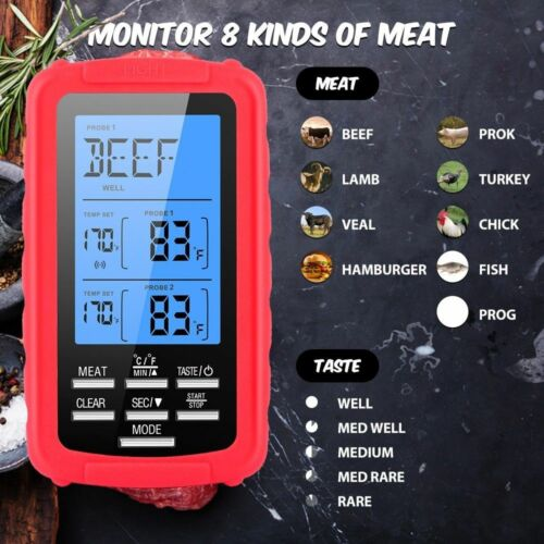 Digital 2 Probe Food Thermometer For BBQ Electronic Cooking Food Probe Meat Temp
