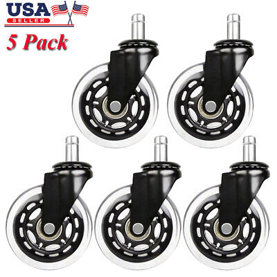 5 Pack Office Chair Caster Heavy Duty Rubber Swivel Wheel Replacement Set 3 Inch