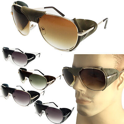 FAUX Leather Side Shield AVIATOR SUNGLASSES Classic Motorcycle Wind Guard (Aviator Sunglasses Side Shields)