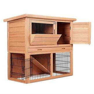 Rabbit Hutch with Pull out Tray for easy cleaning