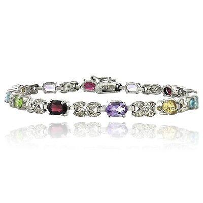 Silver Tone Multi Color Gemstone & Diamond Accent X & Oval Bracelet