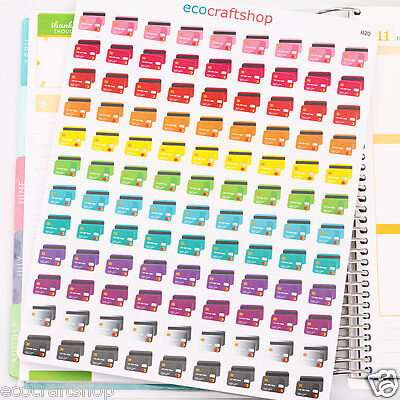 108 MONTHLY CREDIT CARD TO DO PAY DAY TIME Condren EC Erin Planner Stickers R20