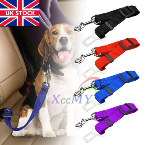 cars - Adjustable Pet Dog Harnesses Seat Belt Lead Restraint Strap Car Safety Clip UK