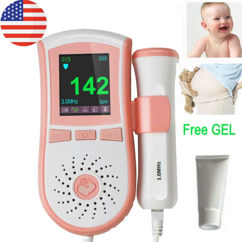 Pocket Fetal Doppler 3MHz Prenatal Baby Heart Beat Rate Monitor 2 type 4 Color