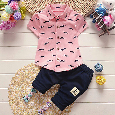 Toddler Baby Kid Boy Short Sleeve Shirt Tops+Pants Gentleman Outfits Clothes NE