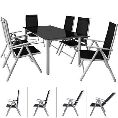 DEUBA® Sitzgruppe Alu 6+1 Aluminium Gartenmöbel Sitzgarnitur Essgruppe Gartenset
