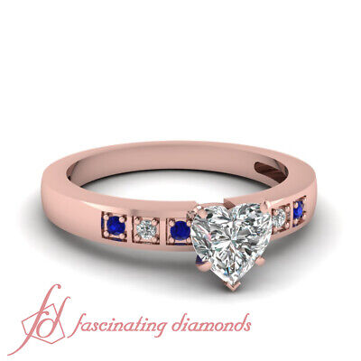 1/2 Carat Rose Gold Diamond Rings With Heart Shaped And Blue Sapphire 14K GIA