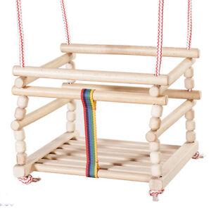 Holzgitterschaukel Babyschaukel Retro Kinderschaukel Holz Schaukel zum aufhängen