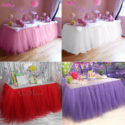 4xWedding TUTU Tulle Table Skirt Tableware Cloth Cover Kids Birthday Party Decor - Pink Table Skirt