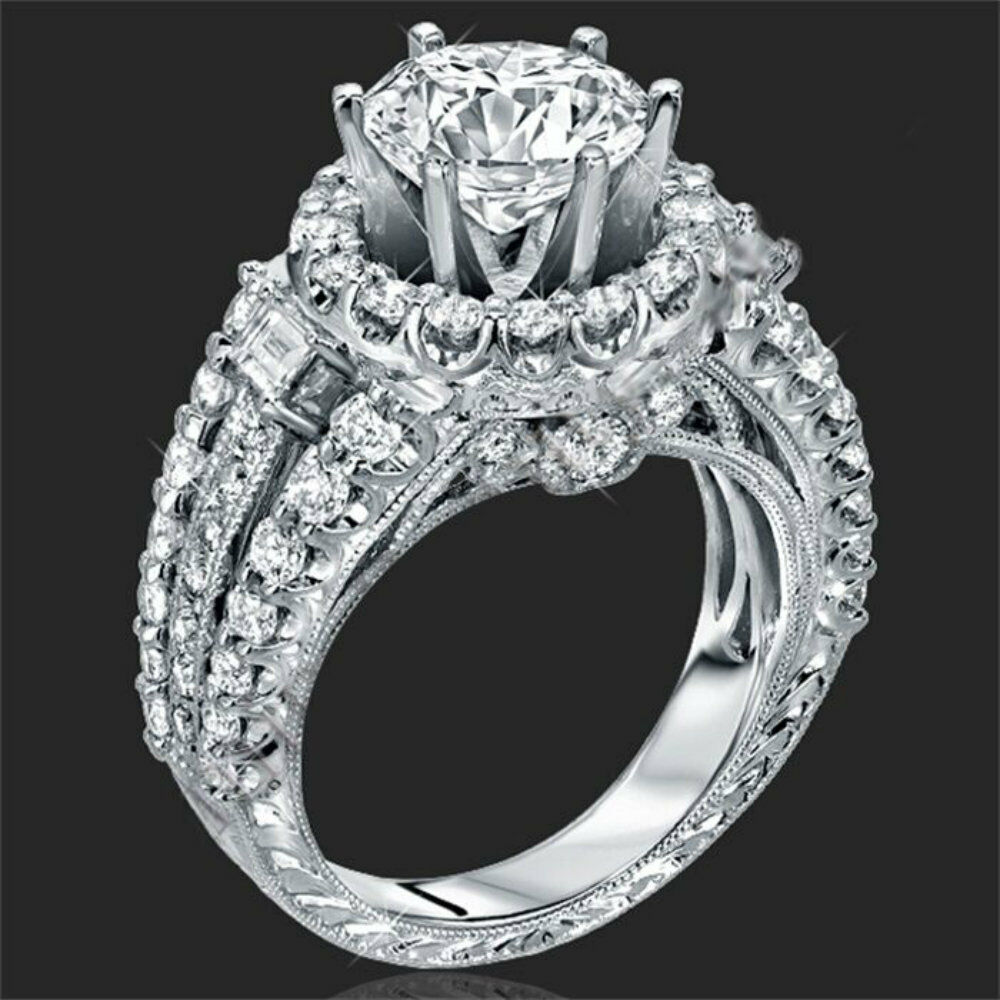 925 Silver White Sapphire Wedding Band Rings Set Women Fashion Jewelry Size 6-9 Fashion Jewelry