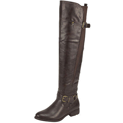 Buckle Knee High Boot (Womens Riding Knee High Boots w/ Buckle Accent Tan Size 5.5-10)