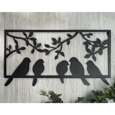 Bits and Pieces - Bird Silhouette Wall Art - Metal Perched Birds Home Décor
