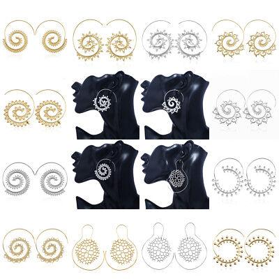 Women Circles Round Spiral Tribal Hoop Earrings Ear Stud Retro Piercing Jewelry
