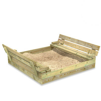 WICKEY Sandkasten Flippey 110x165cm mit Deckel Sandkiste Sitzbänke Sandbox