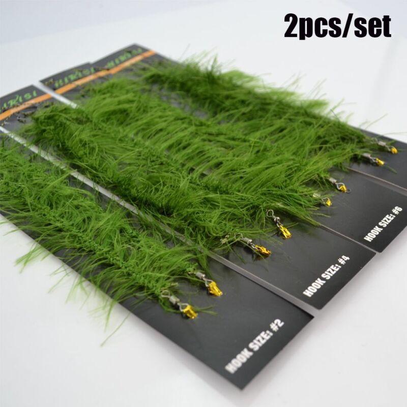 2Pcs Carp Fishing Hair Rigs Weed Braided Line Size 8# Hook Carp Rigs