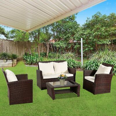 Garden Furniture - Patio Wicker Furniture Outdoor 4 PCS Rattan Sofa Table Garden Conversation Set