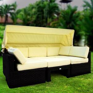Luxo Himara Wicker Outdoor Modular Sofa Bed - Black Seven Hills Blacktown Area Preview